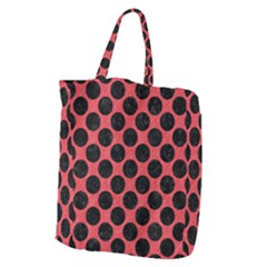 Circles2 Black Marble & Red Colored Pencil Giant Grocery Zipper Tote by trendistuff