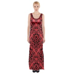 Damask1 Black Marble & Red Colored Pencil Maxi Thigh Split Dress by trendistuff