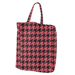 Houndstooth1 Black Marble & Red Colored Pencil Giant Grocery Zipper Tote by trendistuff