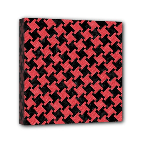 Houndstooth2 Black Marble & Red Colored Pencil Mini Canvas 6  X 6  by trendistuff