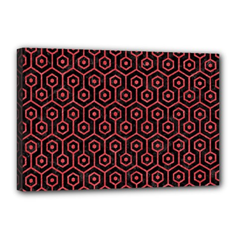 Hexagon1 Black Marble & Red Colored Pencil (r) Canvas 18  X 12  by trendistuff