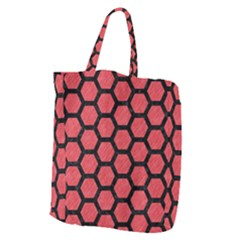 Hexagon2 Black Marble & Red Colored Pencil Giant Grocery Zipper Tote by trendistuff