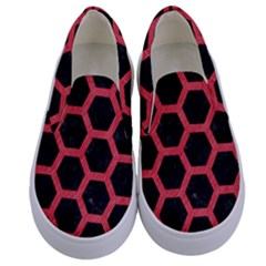 Hexagon2 Black Marble & Red Colored Pencil (r) Kids  Canvas Slip Ons