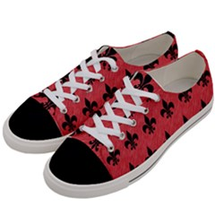 Royal1 Black Marble & Red Colored Pencil (r) Women s Low Top Canvas Sneakers by trendistuff