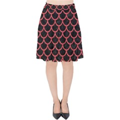 Scales1 Black Marble & Red Colored Pencil (r) Velvet High Waist Skirt by trendistuff