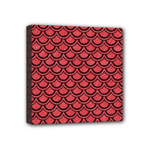 Scales2 Black Marble & Red Colored Pencil Mini Canvas 4  X 4