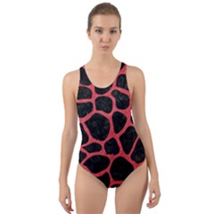 Skin1 Black Marble & Red Colored Pencil Cut Out Back One Piece Swimsuit