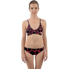 Skin1 Black Marble & Red Colored Pencil Wrap Around Bikini Set