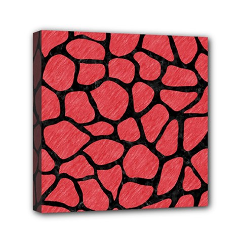 Skin1 Black Marble & Red Colored Pencil (r) Mini Canvas 6  X 6  by trendistuff