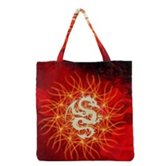 Wonderful Golden Dragon On Red Vintage Background Grocery Tote Bag by FantasyWorld7