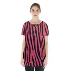 Skin4 Black Marble & Red Colored Pencil (r) Skirt Hem Sports Top