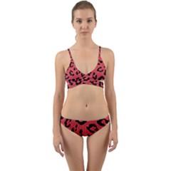 Skin5 Black Marble & Red Colored Pencil (r) Wrap Around Bikini Set