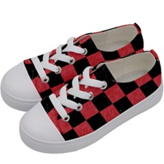 Square1 Black Marble & Red Colored Pencil Kids  Low Top Canvas Sneakers by trendistuff