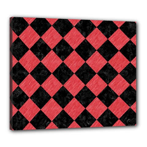 Square2 Black Marble & Red Colored Pencil Canvas 24  X 20  by trendistuff