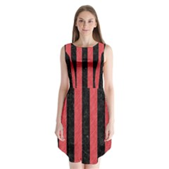 Stripes1 Black Marble & Red Colored Pencil Sleeveless Chiffon Dress