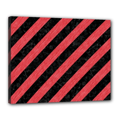 Stripes3 Black Marble & Red Colored Pencil (r) Canvas 20  X 16  by trendistuff