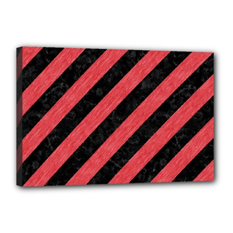 Stripes3 Black Marble & Red Colored Pencil (r) Canvas 18  X 12  by trendistuff