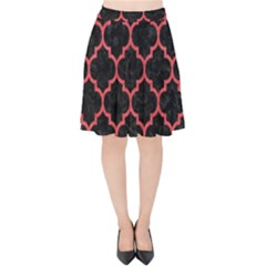 Tile1 Black Marble & Red Colored Pencil (r) Velvet High Waist Skirt by trendistuff