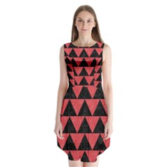 Triangle2 Black Marble & Red Colored Pencil Sleeveless Chiffon Dress
