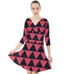Triangle2 Black Marble & Red Colored Pencil Quarter Sleeve Front Wrap Dress
