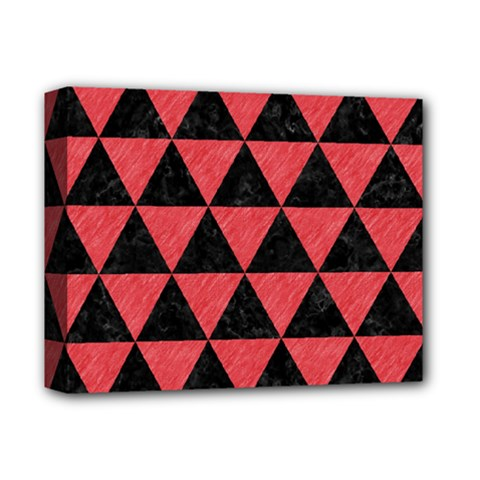 Triangle3 Black Marble & Red Colored Pencil Deluxe Canvas 14  X 11  by trendistuff