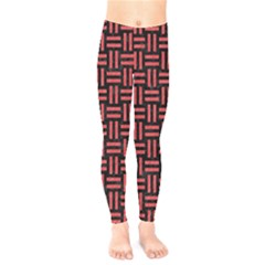 Woven1 Black Marble & Red Colored Pencil (r) Kids  Legging by trendistuff