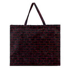 Brick1 Black Marble & Red Grunge (r) Zipper Large Tote Bag by trendistuff