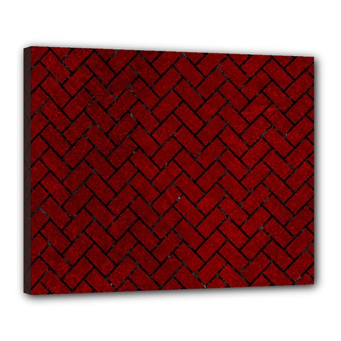 Brick2 Black Marble & Red Grunge Canvas 20  X 16  by trendistuff