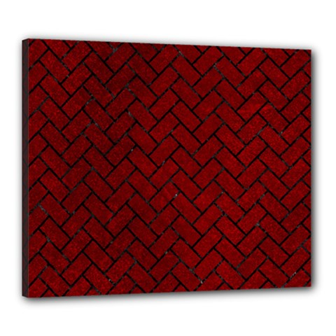Brick2 Black Marble & Red Grunge Canvas 24  X 20  by trendistuff