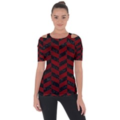 Chevron1 Black Marble & Red Grunge Short Sleeve Top