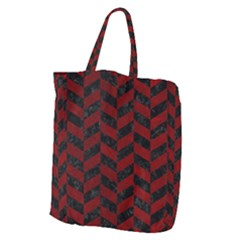 Chevron1 Black Marble & Red Grunge Giant Grocery Zipper Tote by trendistuff