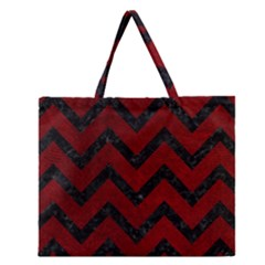 Chevron9 Black Marble & Red Grunge Zipper Large Tote Bag