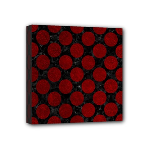Circles2 Black Marble & Red Grunge (r) Mini Canvas 4  X 4