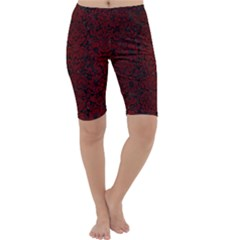 Damask2 Black Marble & Red Grunge (r) Cropped Leggings