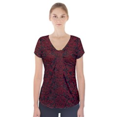 Damask2 Black Marble & Red Grunge (r) Short Sleeve Front Detail Top