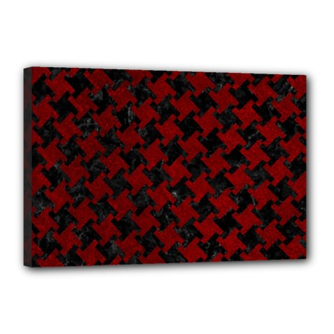 Houndstooth2 Black Marble & Red Grunge Canvas 18  X 12  by trendistuff