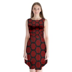 Hexagon2 Black Marble & Red Grunge Sleeveless Chiffon Dress