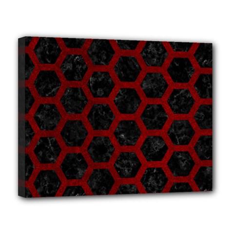 Hexagon2 Black Marble & Red Grunge (r) Canvas 14  X 11  by trendistuff