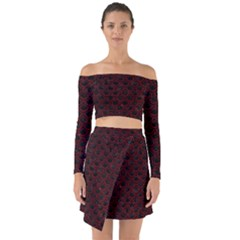 Scales2 Black Marble & Red Grunge (r) Off Shoulder Top With Skirt Set