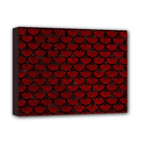 Scales3 Black Marble & Red Grunge Deluxe Canvas 16  X 12   by trendistuff