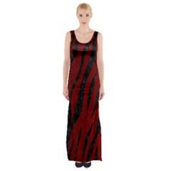 Skin3 Black Marble & Red Grunge Maxi Thigh Split Dress by trendistuff
