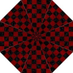 Square1 Black Marble & Red Grunge Straight Umbrellas by trendistuff