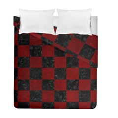 Square1 Black Marble & Red Grunge Duvet Cover Double Side (full/ Double Size) by trendistuff
