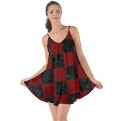 Square1 Black Marble & Red Grunge Love The Sun Cover Up