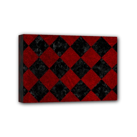 Square2 Black Marble & Red Grunge Mini Canvas 6  X 4  by trendistuff