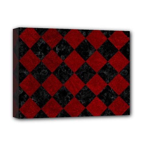 Square2 Black Marble & Red Grunge Deluxe Canvas 16  X 12   by trendistuff