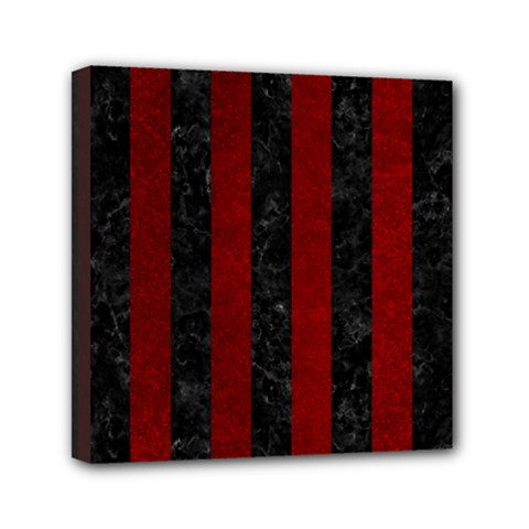 Stripes1 Black Marble & Red Grunge Mini Canvas 6  X 6  by trendistuff