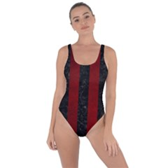 Stripes1 Black Marble & Red Grunge Bring Sexy Back Swimsuit by trendistuff