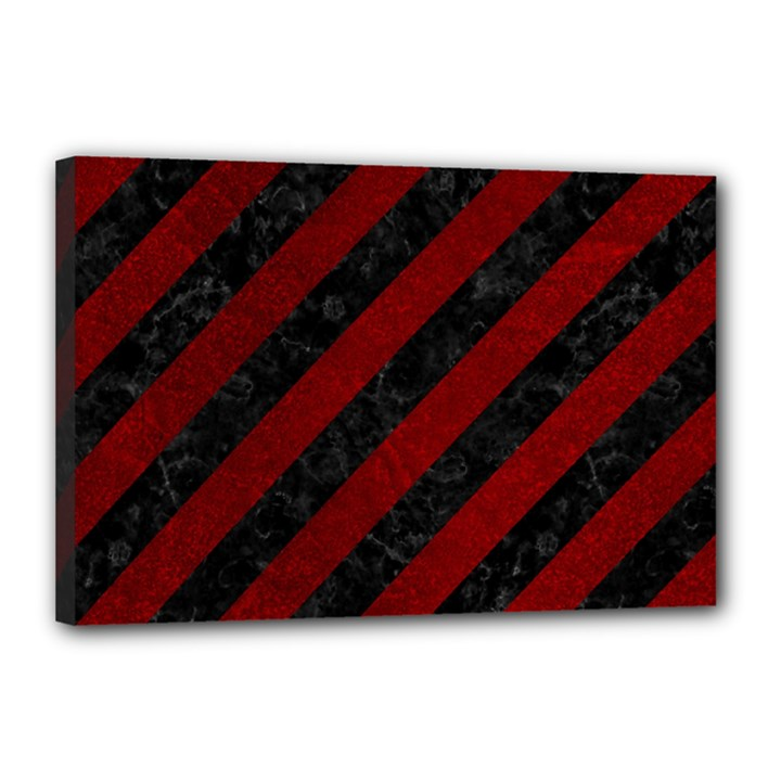 STRIPES3 BLACK MARBLE & RED GRUNGE (R) Canvas 18  x 12