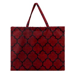 Tile1 Black Marble & Red Grunge Zipper Large Tote Bag by trendistuff